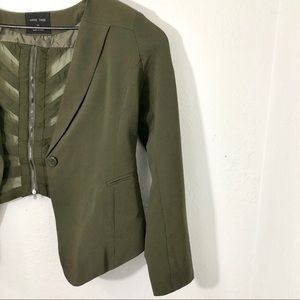 Love Tree Dark Green Career Jacket Lattice Crop